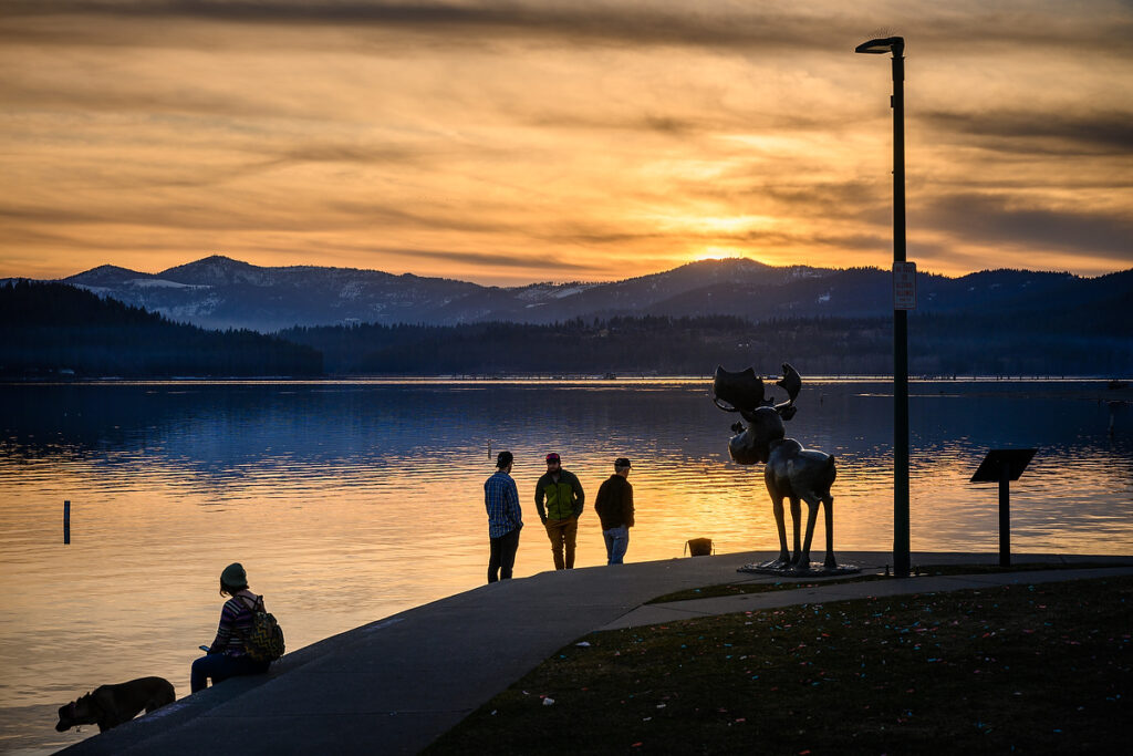 Overlooking A view during sunset overlooking Coeur d'Alene Lake.